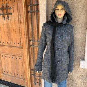 St.Johns Bay hooded peacoat with scarf NEW!
